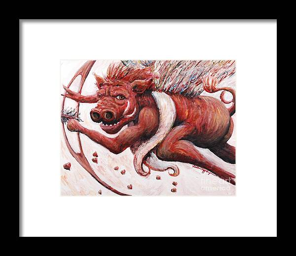 Pig Framed Print featuring the painting Cupig by Nadine Rippelmeyer