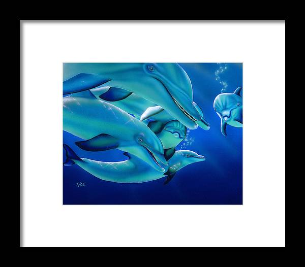 Dolphins Framed Print featuring the painting Curiosity by Angie Hamlin