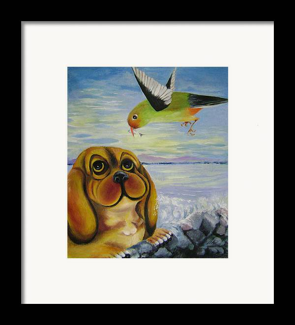 Fantasy Framed Print featuring the painting Curiosity by Lian Zhen