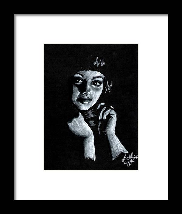 Portrait Framed Print featuring the drawing Curiosity by Scarlett Royal