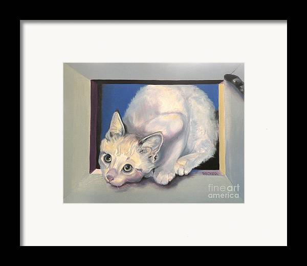 Cat Greeting Card Framed Print featuring the painting Curiosity by Susan A Becker