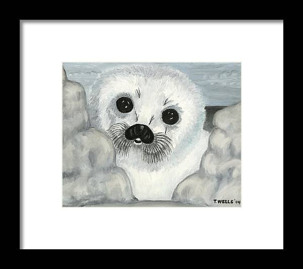 A Curious Arctic Seal Pup Peeking Through Icebergs Framed Print featuring the painting Curious Arctic Seal Pup by Tanna Lee M Wells