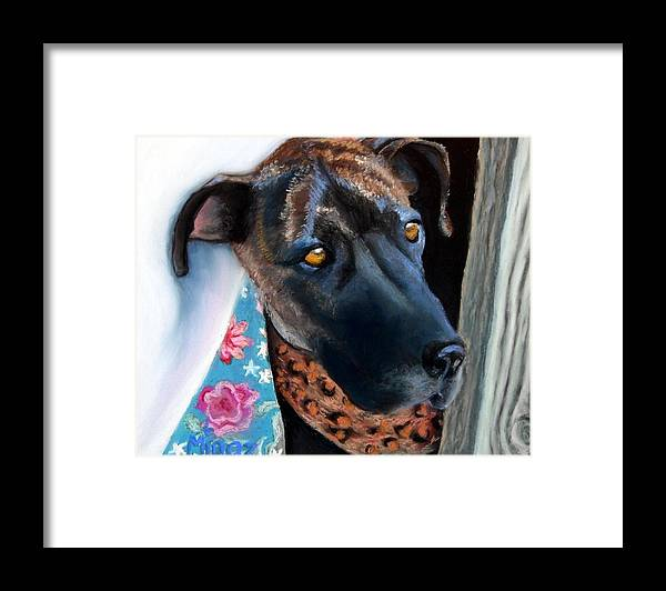 Great Dane Framed Print featuring the painting Whats going on? by Minaz Jantz