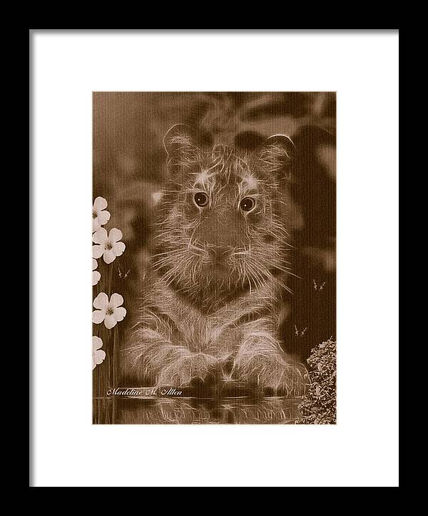 Smudgeart Framed Print featuring the digital art Curious Kitty by Madeline Allen - SmudgeArt