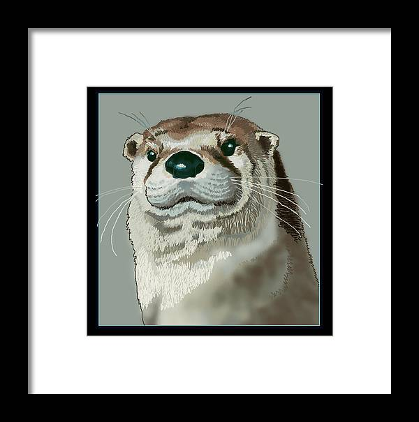 Nature Framed Print featuring the digital art Curious Otter by Jey Manokaran