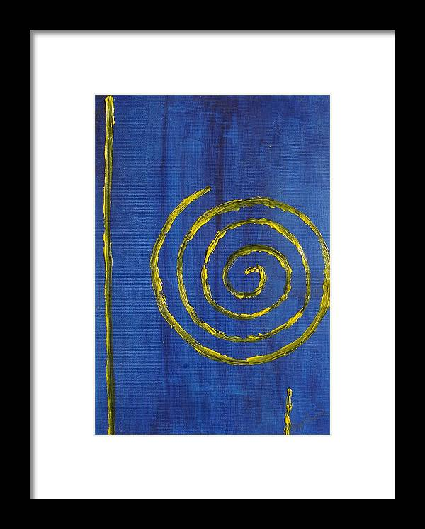 Abstract Oil Painting Framed Print featuring the painting Curlicue Yellow by Roger Cummiskey
