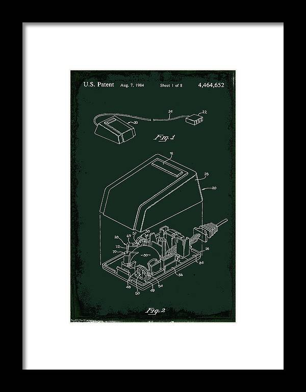 Patent Framed Print featuring the mixed media Cursor Control Device Patent Drawing 1bj by Brian Reaves