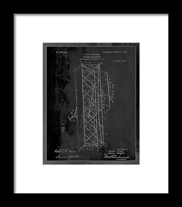 Patent Framed Print featuring the mixed media Flying Machine Patent Drawing 1e by Brian Reaves