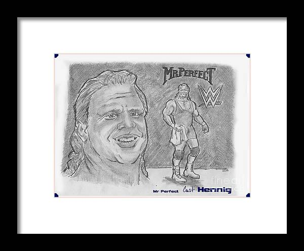 Wwe Framed Print featuring the drawing Curt Hennig- Mr Perfect by Chris DelVecchio