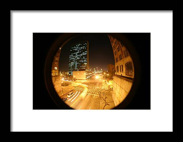 Lanscape At Night United Nations Framed Print featuring the photograph Curved Compromise by Matthew Kennedy