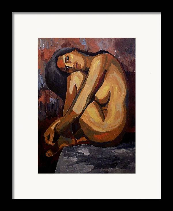 Nude Framed Print featuring the painting Curves by Mats Eriksson