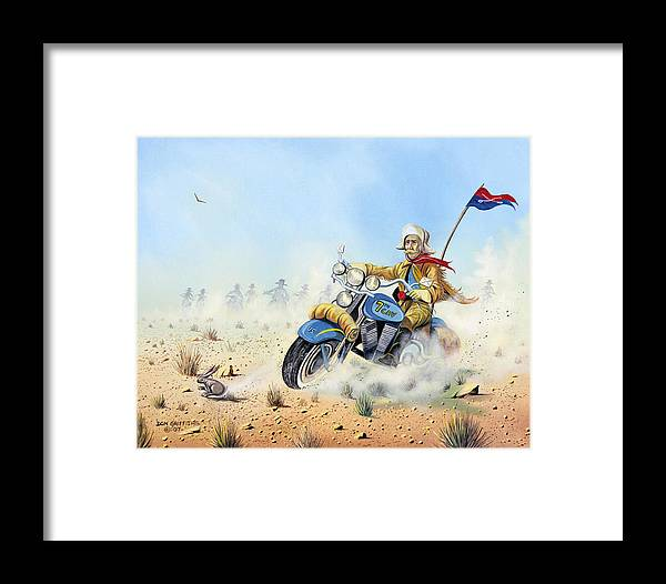 Bike Framed Print featuring the painting Custer On A Hog by Don Griffiths