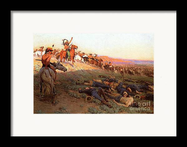 Custer's Last Stand; Battle; Little Bighorn; Greasy Grass; George Armstrong Custer; Crazy Horse; Native American Indian; Indians; Americans; United States; Army; Cavalry; Horses; Great Sioux War; Lakota; Northern Cheyenne; Arapho; Dead; Death; Bodies; Triumph; Victory; Triumphal; Leader; Dusk; Sunset; Dramatic; Heroic; Black Hills War; Combat; Warfare; Battles Framed Print featuring the painting Custer's Last Stand by Richard Lorenz