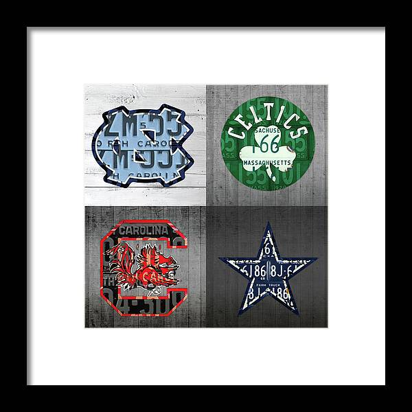 Unc Framed Print featuring the mixed media Custom 4 Team License Plates Sport Art No 1 by Design Turnpike