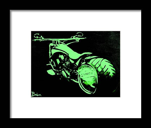 Custom Harley Davidson Framed Print featuring the digital art Custom Harley Davidson Teal by Ruben Barbosa