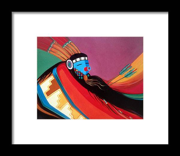 Kachina Framed Print featuring the painting Custom Kachina by Marlene Burns