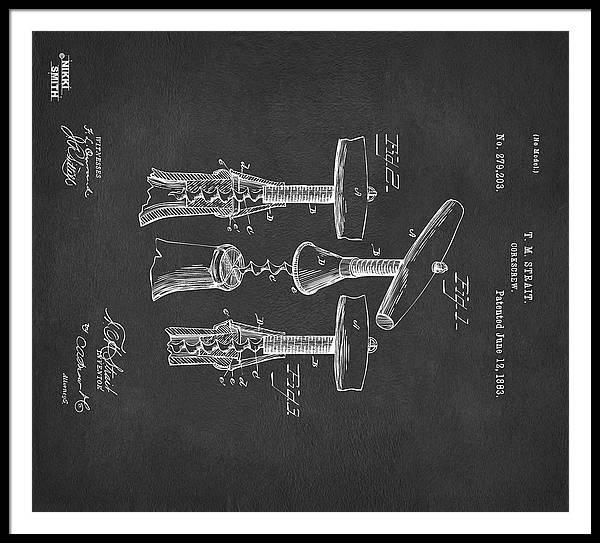 Wine Framed Print featuring the digital art Custom Size 1883 Wine Corckscrew Patent Artwork - Gray 43x48 by Nikki Marie Smith