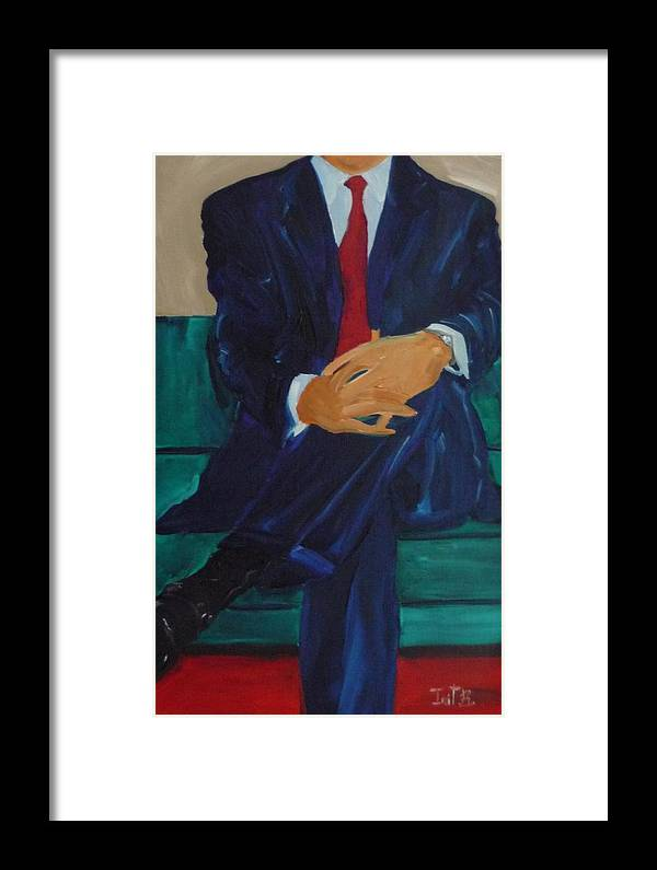 Figurative Framed Print featuring the painting Cut A Deal by Irit Bourla