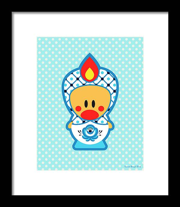 Cute Art Framed Print featuring the digital art Cute Art - Blue Polka Dot Folk Art Sweet Angel Bird In A Nesting Doll Costume Wall Art Print by Olga Davydova