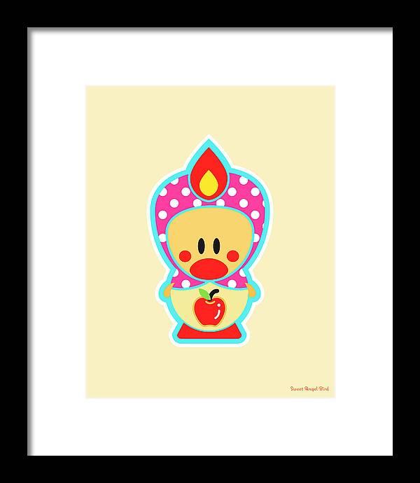 Cute Art Framed Print featuring the digital art Cute Art - Sweet Angel Bird Apple Matryoshka Wall Art Print by Olga Davydova
