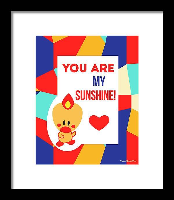 Cute Art Framed Print featuring the digital art Cute Art - Sweet Angel Bird Multicolor Colorblock You Are My Sunshine Wall Art Print by Olga Davydova