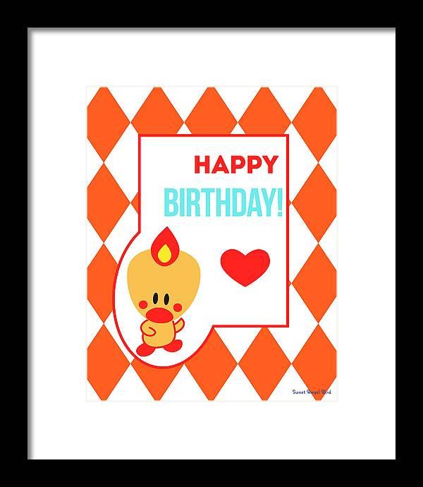Cute Art Framed Print featuring the digital art Cute Art - Sweet Angel Bird Terra Cotta Happy Birthday Circus Diamond Pattern Wall Art Print by Olga Davydova