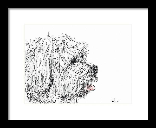 Dog Framed Print featuring the digital art Cute Dog by Diane Chandler