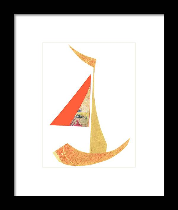 Cute Sailboat Collage Framed Print featuring the mixed media Cute Sailboat Collage 518 by Carol Leigh