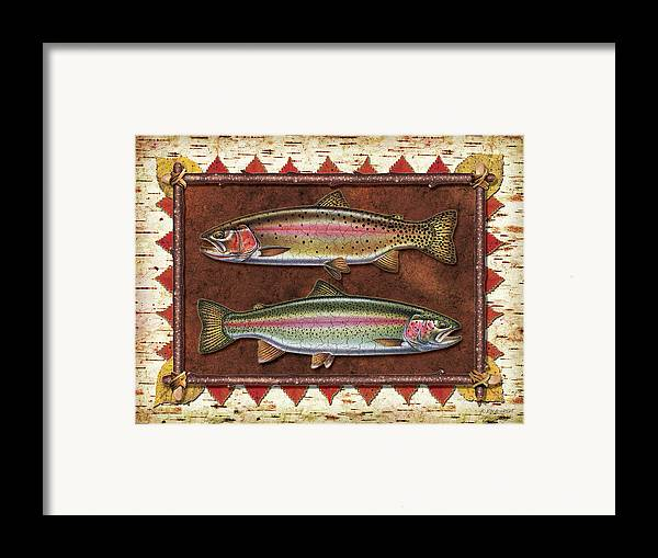 Cutthroat And Rainbow Trout Lodge Framed Print by JQ Licensing