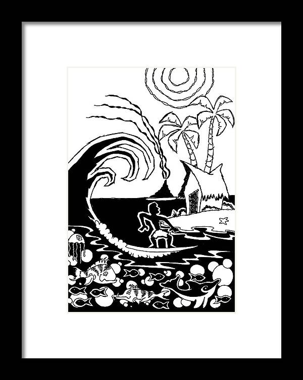 Surfing Framed Print featuring the digital art Cutting Board by Aaron Bodtcher