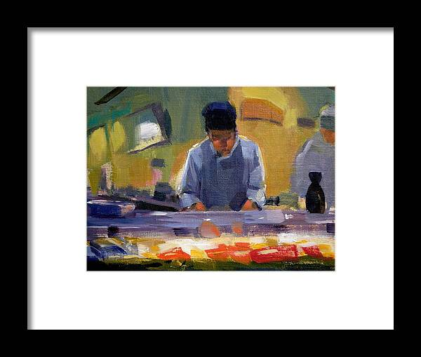 Sushi Framed Print featuring the painting Cutting Sushi by Merle Keller