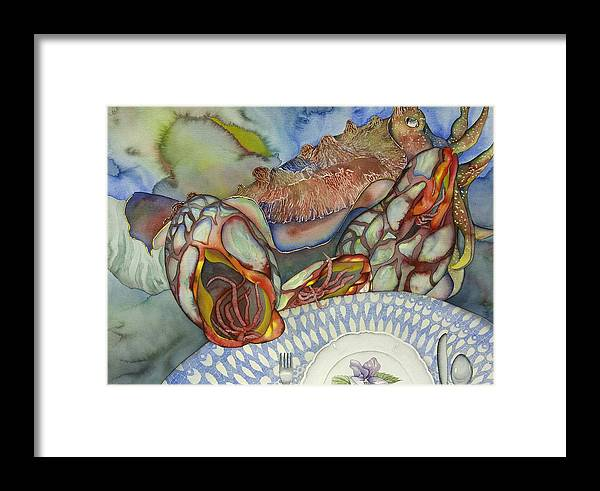 Sea Framed Print featuring the painting Cuttlefish Anyone by Liduine Bekman