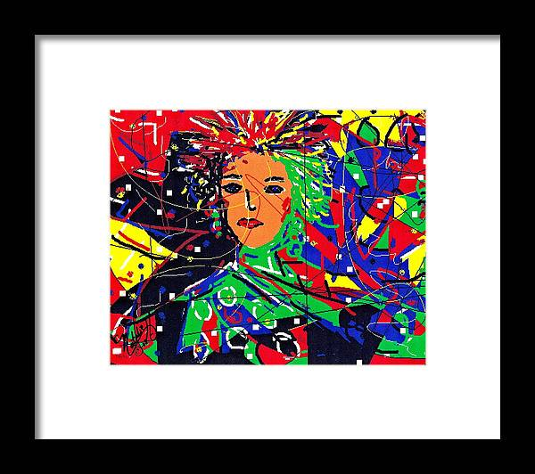 Woman Framed Print featuring the digital art Cyberspace Goddess by Natalie Holland