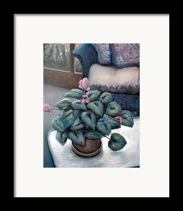 Cyclamen Framed Print featuring the painting Cyclamen And Wicker by Michelle Calkins