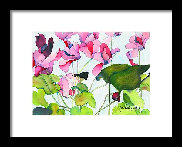 Pink Cyclamen Flower Green Leaf Framed Print featuring the painting Cyclamen by Jeff Friedman