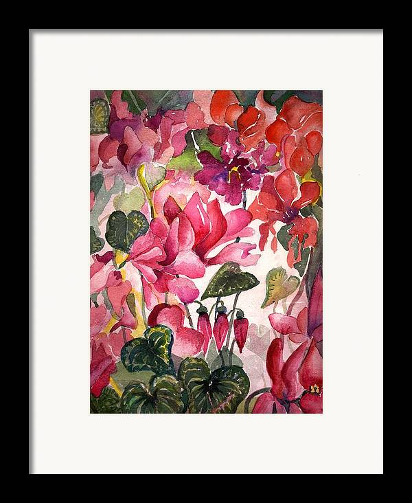 Cyclamen Framed Print featuring the painting Cyclamen by Mindy Newman
