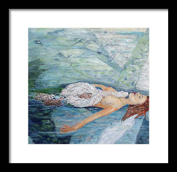 Fantasy Framed Print featuring the painting Cygnets Penn And Mermaid by Laurence Dahlmer