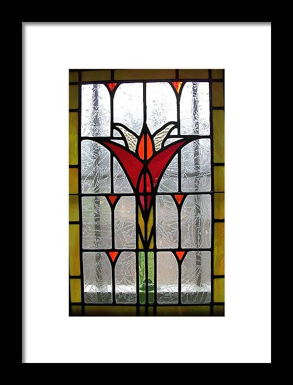 Stained Framed Print featuring the glass art Cyndees Window by Alan Carlson