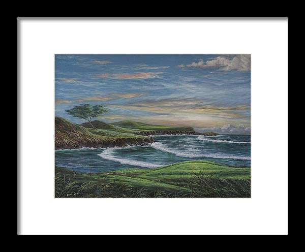 Khamis Framed Print featuring the painting Cypress Point Ca by Dj Khamis