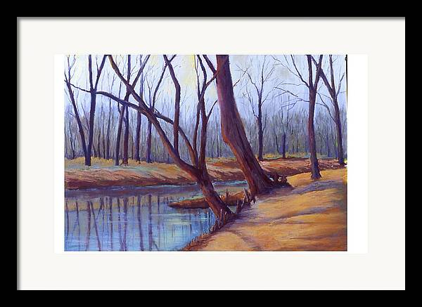 Landscape Framed Print featuring the painting Cypress Trees by MaryAnn Stafford
