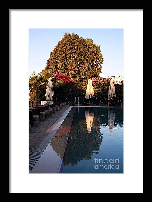 Cyprus Pool Reflection Framed Print featuring the photograph Cyprus Pool Reflection by John Rizzuto