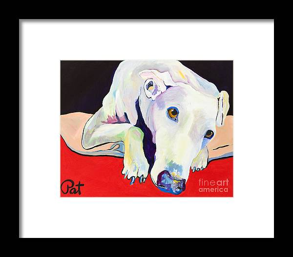 Animals Pets Greyhound Framed Print featuring the painting Cyrus by Pat Saunders-White