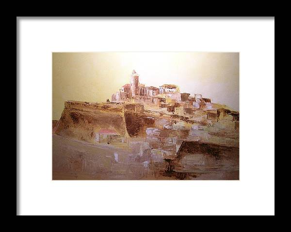 Original Cityscpae Framed Print featuring the painting D Alt Vila Ibiza Old Town by Lizzy Forrester