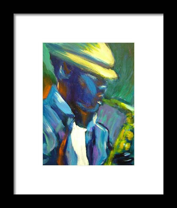 Sax Player Framed Print featuring the painting D by Jan Gilmore