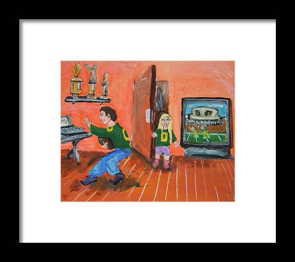 Art Framed Print featuring the painting Dad Duck by Todd Artist