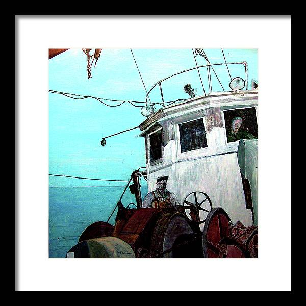 Gloucester Framed Print featuring the painting Dad In The Superior's Wheelhouse by Laurence Dahlmer