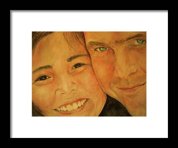 Portrait Framed Print featuring the painting Daddy N Me by Susan Gauthier