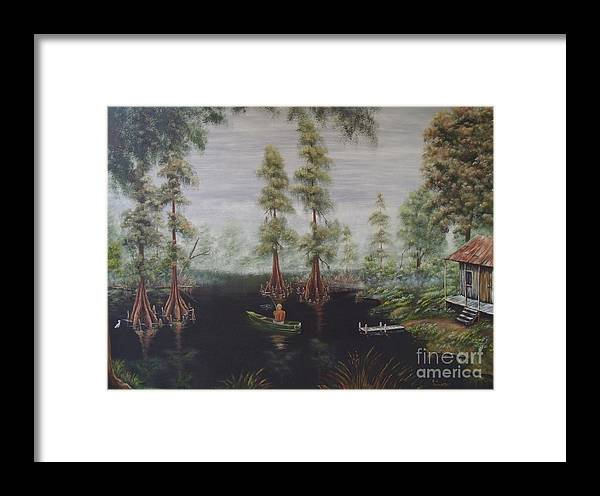 Fishing Framed Print featuring the painting Daddy's Fishing Hole by Ann Kleinpeter