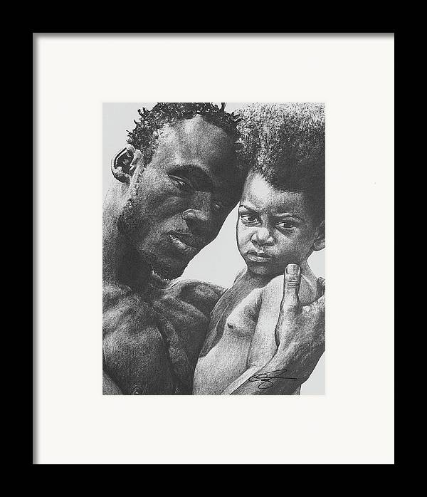 Dads Framed Print featuring the drawing Daddy's Home by Curtis James