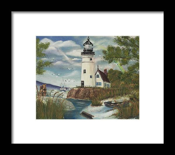 Framed Print featuring the painting Dads Lighthouse by Darlene Green